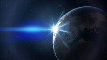 Blue Planet Sunrise In Space
