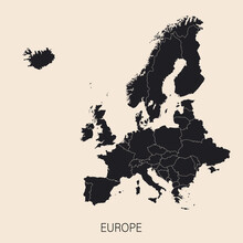 The Political Detailed Map Of The Continent Of Europe With Borders Of Countries