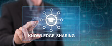 Man Touching A Knowledge Sharing Concept
