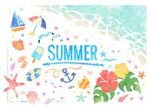 水彩風の夏の海ベクターイラストセット