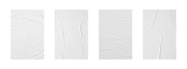 white crumpled and creased glued paper poster set isolated on white background
