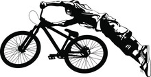 Silhouette Of A Cyclist Performing A Stunt On A Bicycle Vector Illustration