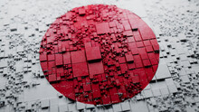 Flag Of Japan Rendered In A Futuristic 3D Style. Japanese Innovation Concept. Tech Background.