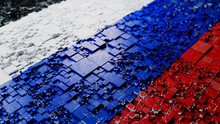 Flag Of Russia Rendered In A Futuristic 3D Style. Russian Technology Concept. Tech Wallpaper.