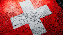 Flag Of Switzerland Rendered In A Futuristic 3D Style. Swiss Technology Concept. Tech Wallpaper.