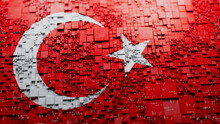Flag Of Turkey Rendered In A Futuristic 3D Style. Turkish Technology Concept. Tech Wallpaper.