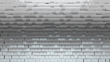 Polished, Silver Mosaic Tiles Arranged In The Shape Of A Wall. Square, 3D, Bullion Stacked To Create A Glossy Block Background. 3D Render