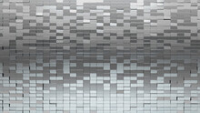 Polished, Rectangle Mosaic Tiles Arranged In The Shape Of A Wall. 3D, Silver, Bullion Stacked To Create A Glossy Block Background. 3D Render