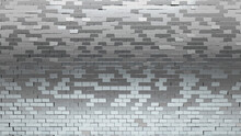 Rectangle, Silver Mosaic Tiles Arranged In The Shape Of A Wall. Glossy, Polished, Bullion Stacked To Create A 3D Block Background. 3D Render