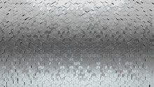 Glossy, 3D Mosaic Tiles Arranged In The Shape Of A Wall. Polished, Diamond Shaped, Bullion Stacked To Create A Silver Block Background. 3D Render