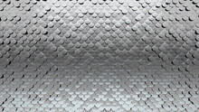 Polished, Glossy Mosaic Tiles Arranged In The Shape Of A Wall. 3D, Silver, Bullion Stacked To Create A Fish Scale Block Background. 3D Render