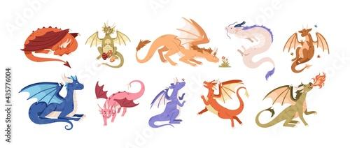 Fotografie, Obraz Cute baby dragons set