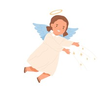 Cute Happy Angel With Halo, Wings And Stars. Magic Little Girl With Nimbus Flying. Sweet Divine Child In Dress In Heavens. Colored Flat Vector Illustration Isolated On White Background