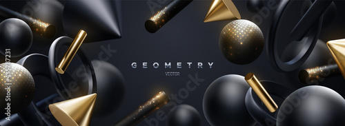 Black and golden geometric shapes backdrop. Abstract elegant background.