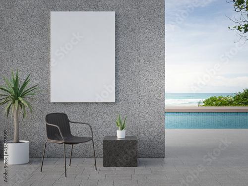 Canvas-taulu Chair on terrace near swimming pool in modern beach house or luxury villa