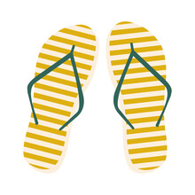 Yellow Striped Flip Flops With Green Partition. Trending Trendy Colors 2021. Slippers Isolated On White. Design Element, T-shirt Printing, Pillow Decor, Travel And Vacation Attributes. Vector Graphics