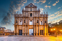Ruins Of St. Paul's Cathedral Ancient Antique Architecture In Macau Landmark, Beautiful Historic Building Of Macau, UNESCO World Heritage Site, Macau, China, Asian, Asia.
