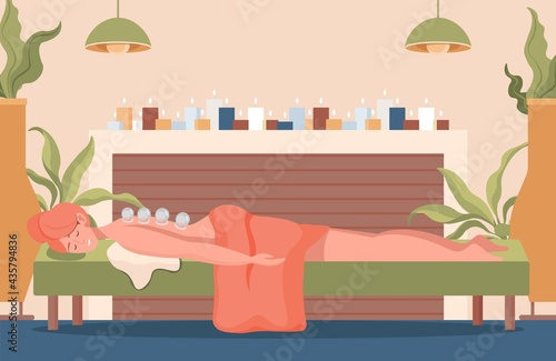 Young pretty woman lying on sofa with closed eyes and cups on her back vector flat illustration Fotobehang