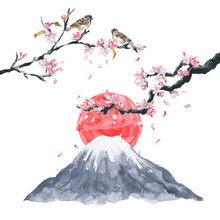 Watercolor Cherry Blossom Sakura With Red Sun And Mount Fuji. Watercolour Japan Style Illustration.