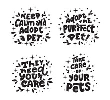 The Set Of Saying For Pets. The Collection Of Dogs And Cats With Quotes