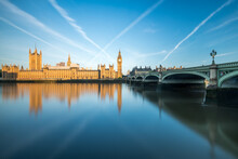 Palace Of Westminster With Big Ben And Westminster Bridge At Sunrise, London, United Kingdom
