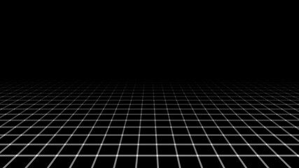 Abstract perspective grid. Digital background in retro style. Landscape on black background. Vector illustration.