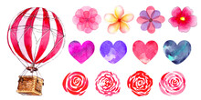 Set Of Watercolor Illustrations Of A Hot Air Balloon With Flowers And Hearts On A White Background. For Romantic Decor, Birthday, Valentine's Day, Wedding.