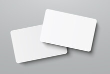 Mockup Realistic Business Cards, Gift Card Paper Placeholder Template Mockup With Shadows Effects On A Gray Background, Mockup Visit Card – Stock Vector