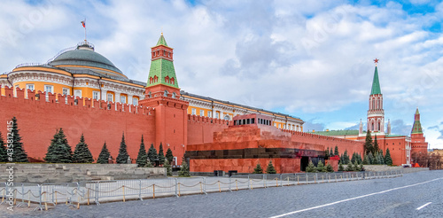 Fototapeta Panoramic view of Moscow Kremlin with mausoleum of Lenin - fortified complex in center city on Red Square, Moscow, Russia