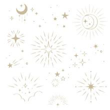 Gold Moon And Star Design Elements Set, Vector Vintage Illustration