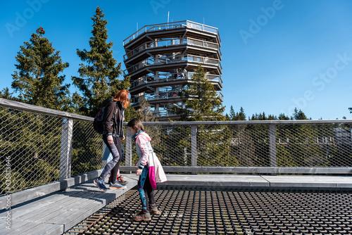 Carta da parati Family people walking wooden treetop observation deck walkway in winter
