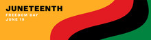Juneteenth Banner Vector. Waving Pan-African Flag On Orange Background. Juneteenth Freedom Day Text.