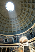 Dome Inside Pantheon, Rome, Italy. Famous Oculus And Light Ray.