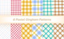 Set Of 6 Pastel Gingham Pattern Background. Handfree Style Editable Stroke. Tartan, Plaid, Pale, Pink, Yellow, Blue, Green, Beige, Brown.