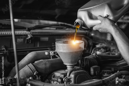 Vászonkép Close up hand of an auto mechanic changes the oil, Refueling and pouring oil quality into the engine motor car Transmission and Maintenance Gear