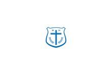 Retro Vintage Shield With Jesus Christian Cross For Church Chapel Religion Logo Design Vector