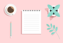 Top View Of An Open Paper Notepad With A Coffee Mug, Flower Pot And Pencil. Blank Clean Notebook. Taking Notes, Writing, Planning, Studying Concept. Modern Minimalist Isolated Flat Vector Illustration