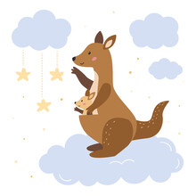 Mother Kangaroo With Her Baby Kangaroo On Clouds. Cute Cartoon Animals Character. Hand Drawn Doodle Stars. Vector Illustration For Nursery Poster, Baby Shower And Greeting Card.