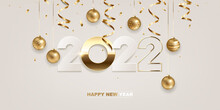 Happy New Year 2022. White Paper And Golden Numbers With Christmas Decoration And Confetti On White Background. Holiday Greeting Card Design.