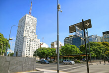 Avenida 9 De Julio Street With Impressive Building Of The Ministry Of Health And Public Works Depicting An Image Of Eva Peron On The Facade, Buenos Aires, Argentina