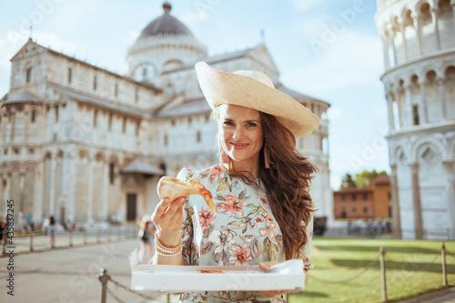 Fotografie, Obraz happy traveller woman in floral dress