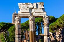 Forum Of Caesar, Part Of Forum Romanum, View Of The Ruins Of Temple Of Venus Genetrix, Rome, Italy