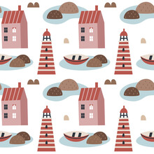 Seamless Vector Scandinavian Pattern With Small Tiny Houses, Lighthouse, Boat And Stones In Boho Style