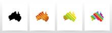 Australia On Colorfull Stripes Logo Design