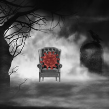 Illustration Corona Virus Global Pandemic Concept. Royal Chair And Covid On Dark With Thematic Spooky Forest, Foggy Backlight, Headstone Tombstone Or Gravestone With COVID-19 Letters. Shift Blur.