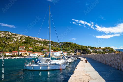 Fotografiet Sailing harbor in Baska waterfront view, town on Krk island