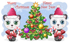Couple Cute Cartoon Panda Bear With Big Eyes In A Red Santa Claus Hat Near The Christmas Tree. New Year
