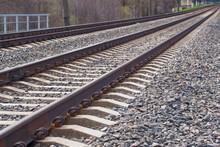 Railway Line Track. Long Straight Train Tracks. Transportation Concept