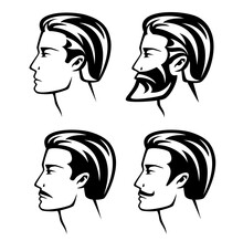 Set Of Young Man With Different Hairstyles, Beards And Mustache Designs - Black And White Vector Profile Head Outlines