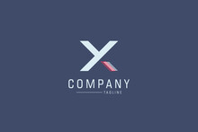 Abstract Initial Letter Y And X Linked Logo. White And Red Geometric Shapes Arrow Style Isolated On Blue Background. Usable For Business And Branding Logos. Flat Vector Logo Design Template Element.